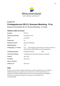 Företagsekonomi GR (C), Business Marketing, 15 hp