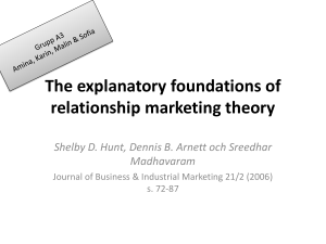 The explanatory foundations of relationship marketing theory