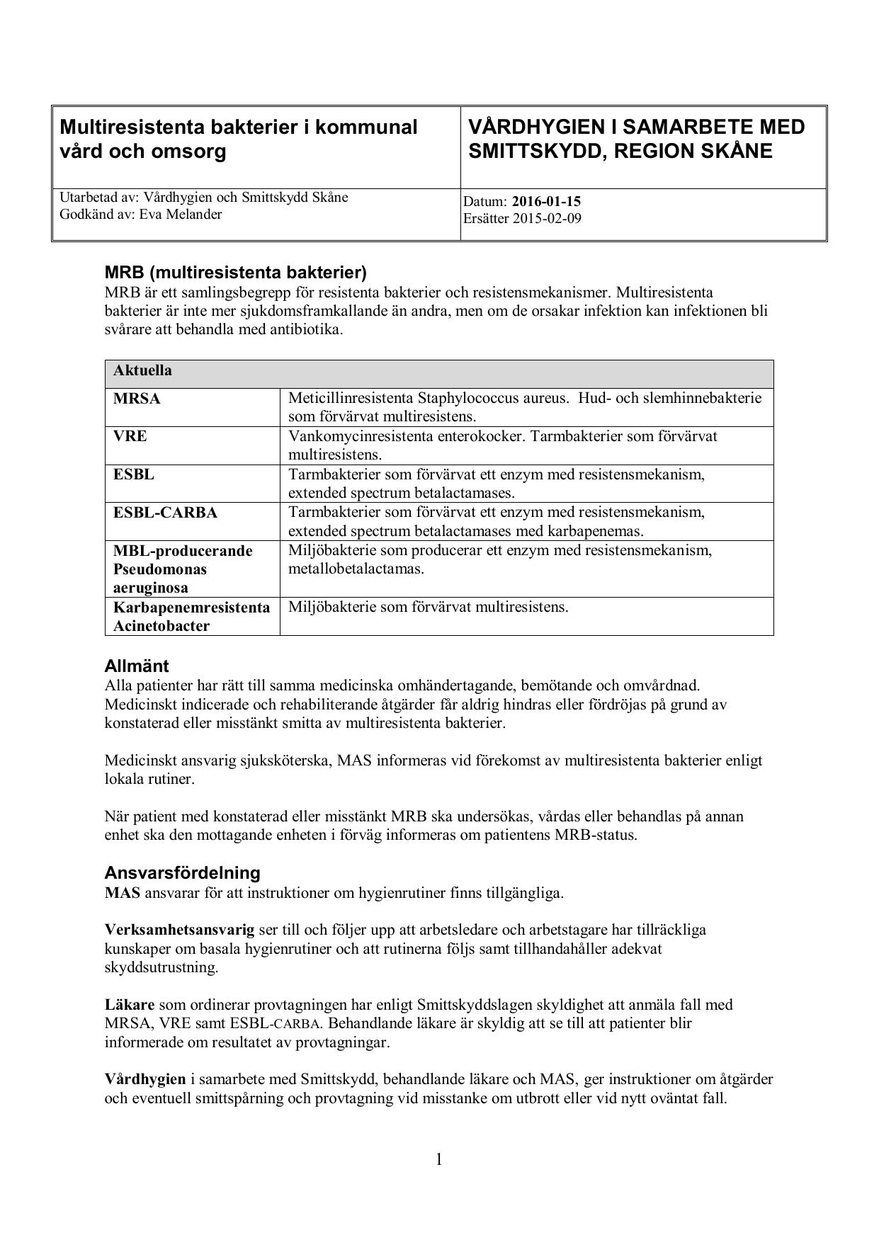 multiresistenta bakterier smitta