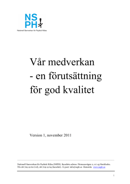 NSPH:s kvalitetsdokument version 1