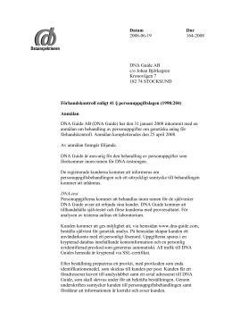 Datum Dnr 2008-06-19 164-2008 DNA Guide
