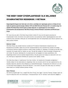 the body shop återplanterar 14.5 miljoner kvadratmeter regnskog i