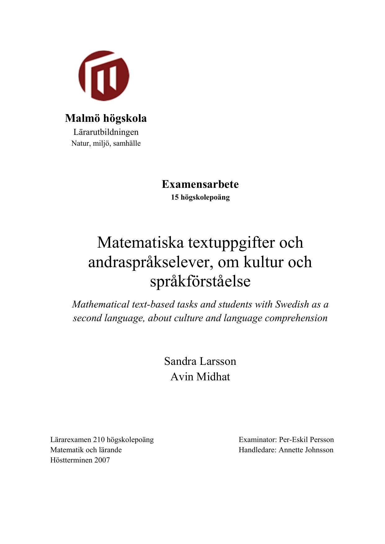 Matematiska textuppgifter och andraspråkselever a4d8fd1b60868