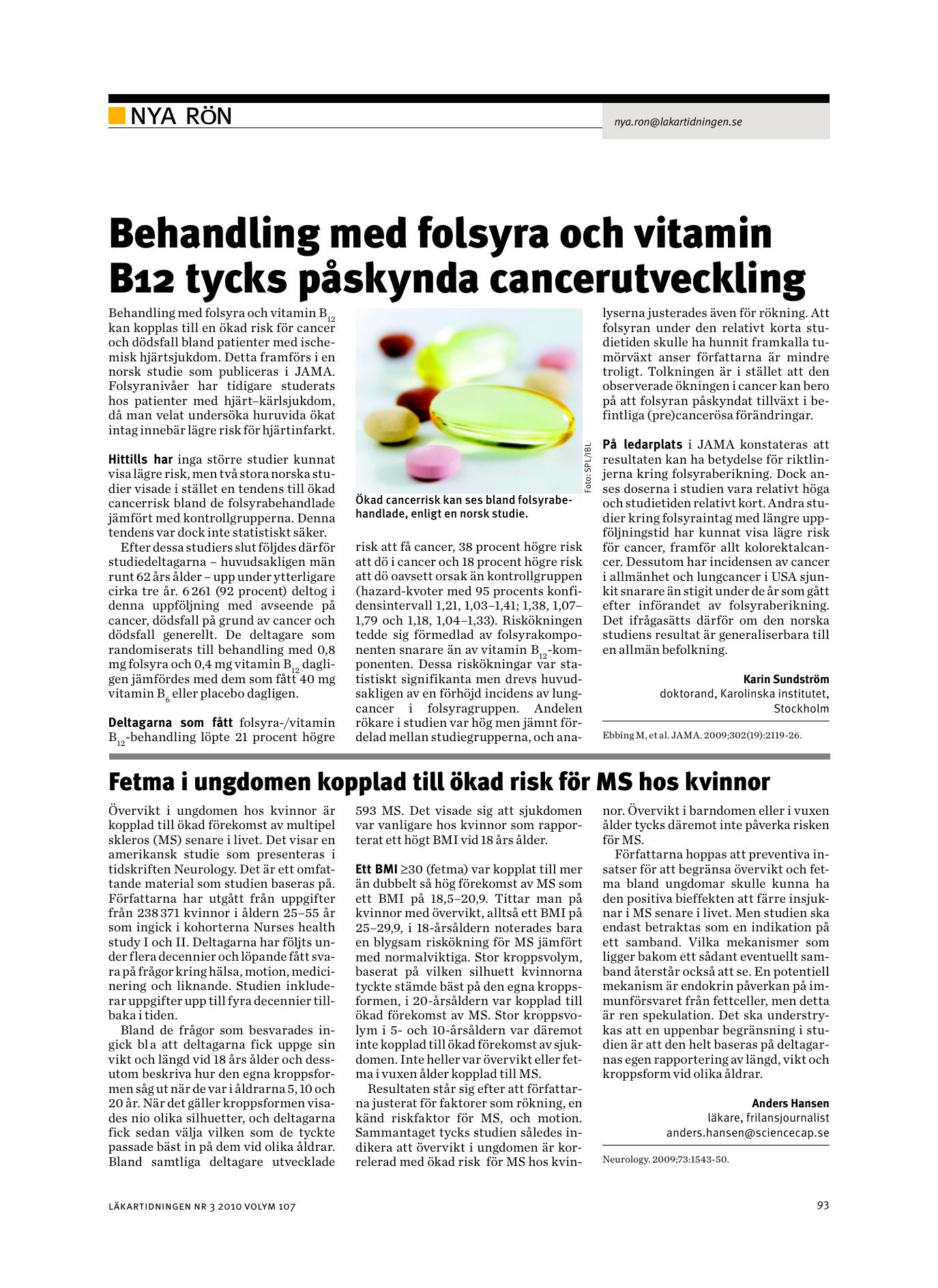 b12 folsyra cancer