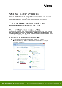 Office 365 – Installera Officepaketet Ta bort ev. tidigare