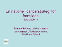 Cancerlakare for nationell vardplan