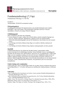 Fundamentalteologi (7,5 hp)