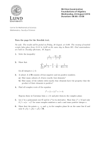 Written Examination Foundations of Algebra Wednesday, 24 August