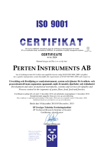 Certification - Perten Instruments