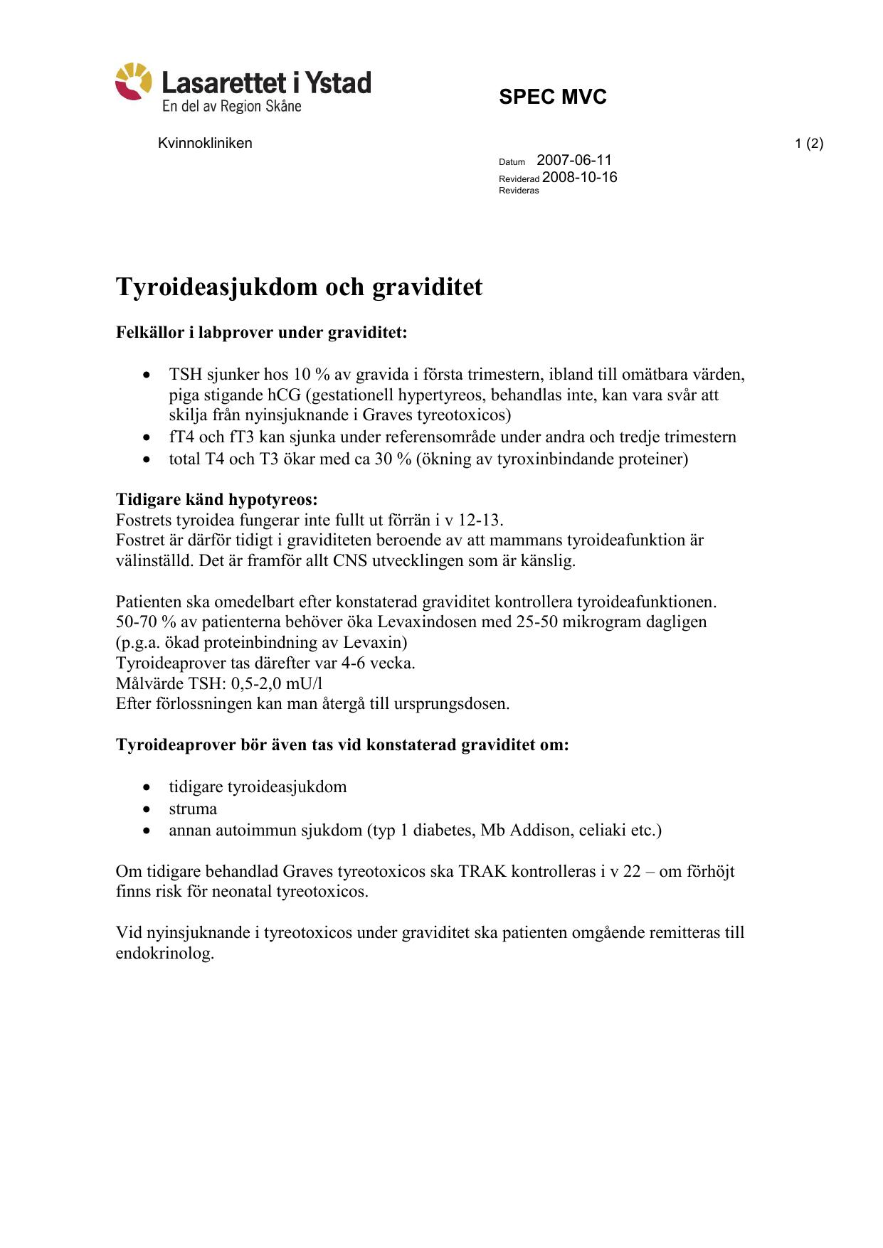 Tyroideasjukdom Och Graviditet