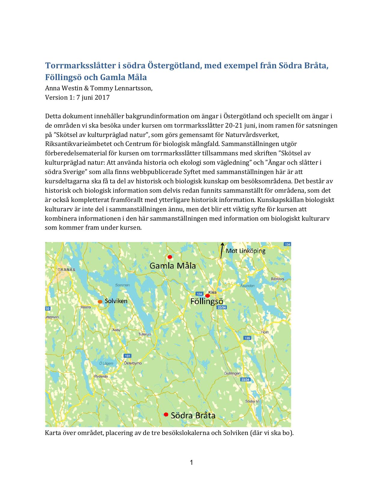 Torrmarksslatter I Sodra Ostergotland Med Exempel Fran