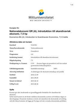 Nationalekonomi GR (A), Introduktion till skandinavisk ekonomi, 7,5 hp