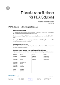 PDA Solutions - Tekniska specifikationer