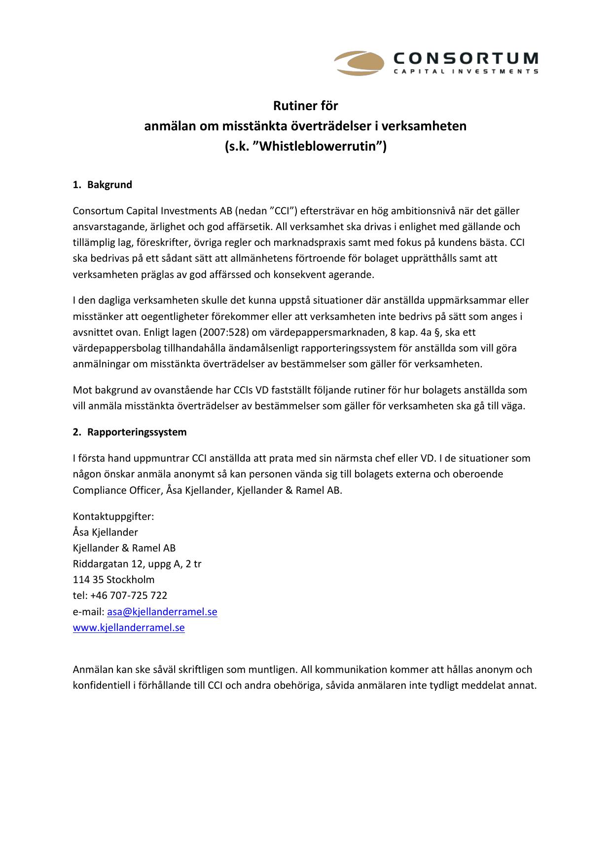 ad9c5928cc9 Rutiner för anmälan om misstänkta överträdelser i verksamheten (sk