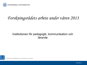 Presentation över institutionens forskning
