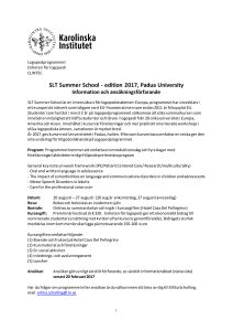 SLT Summer School - edition 2017, Padua University