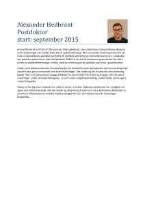 Alexander Hedbrant Postdoktor start: september 2015