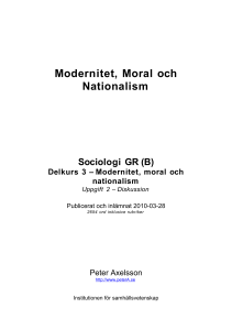 Modernitet, moral och nationalism