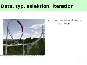 Data, typ, selektion, iteration