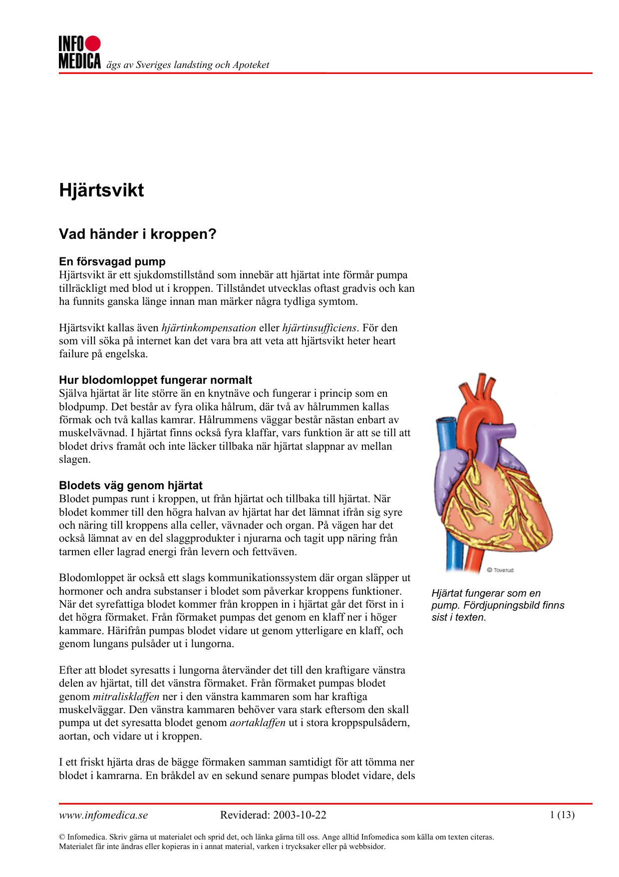 vad innebär hjärtsvikt