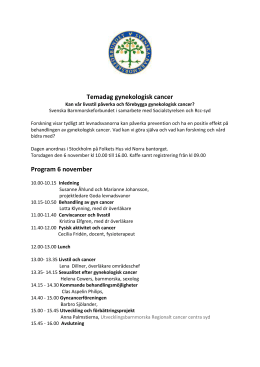 Temadag gynekologisk cancer Program 6 november