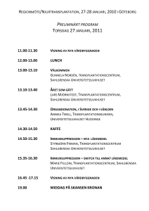 preliminärt program torsdag 27 januari,2011 11.00