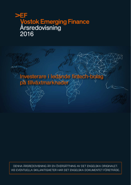 Årsredovisning 2016 - Vostok Emerging Finance