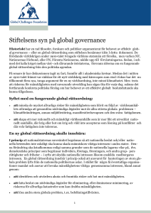 Stiftelsens syn på global governance