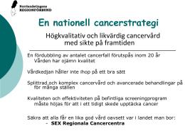 Cancerlakare for nationell vardplan