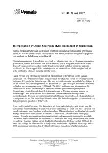 Interpellation av Jonas Segersam (KD) om