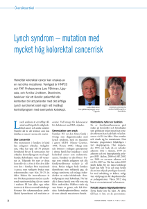 Lynch syndrom – mutation med mycket hög kolorektal cancerrisk