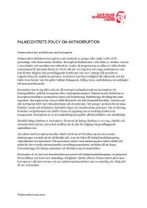 PALMECENTRETS POLICY OM ANTIKORRUPTION