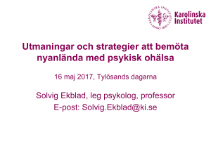 Solvig Ekblad, Karolinska Institutet