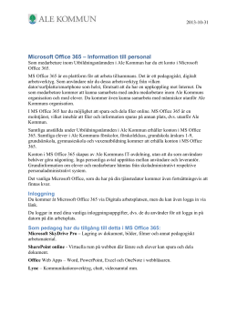 Microsoft Office 365 – Information till personal