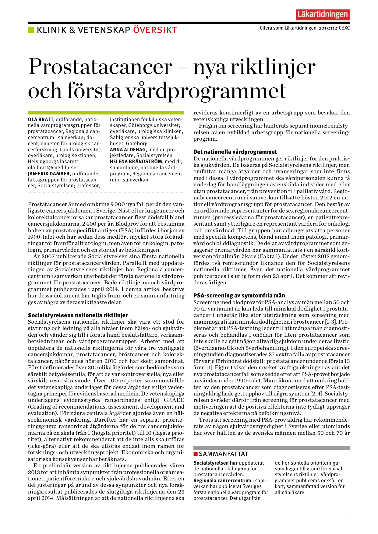 prostatacancer nationellt vårdprogram