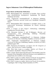 Ingvar Johansson: List of Philosophical Publications