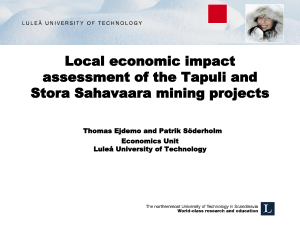 Local economic impact assessment of the Tapuli and