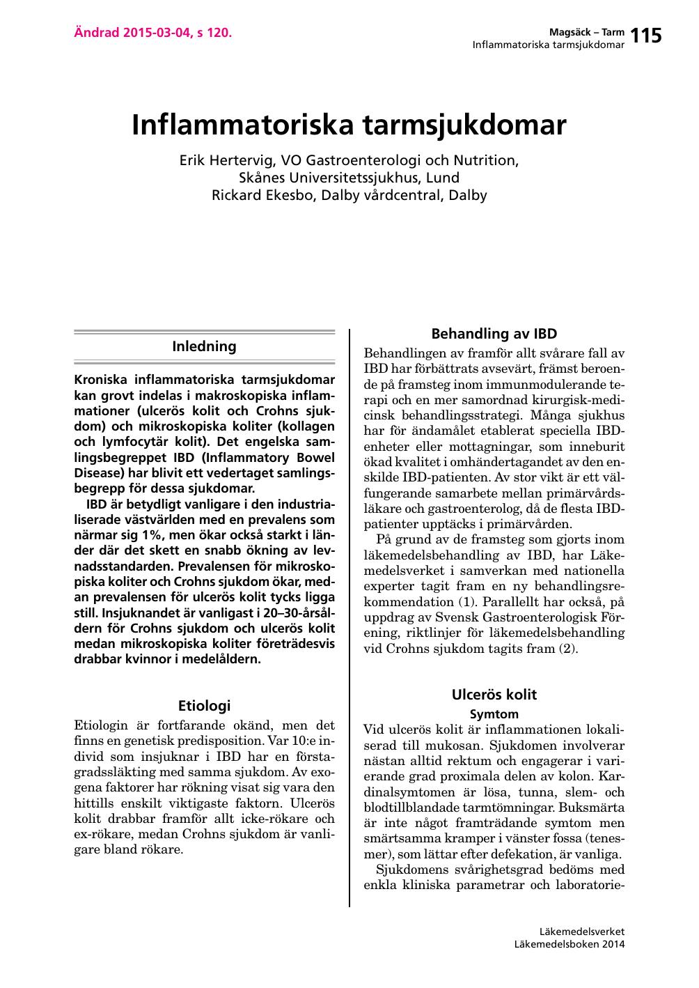 Inflammatoriska tarmsjukdomar – Läkemedelsboken 2014 36130b903ba57