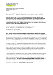 Epirubicin-DRP™ data for Breast Cancer to be presented at ASCO