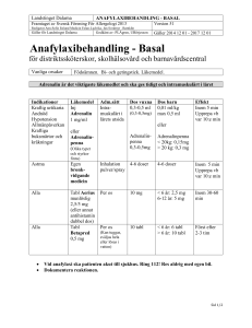Anafylaxi basal behandling