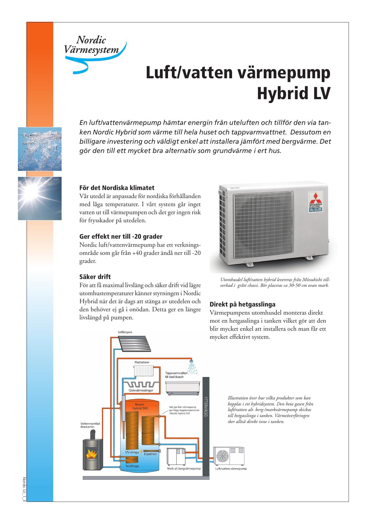 Populära Luft/vatten värmepump Hybrid LV WK-69