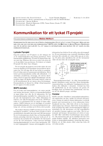 Kommunikation f ¨or ett lyckat IT