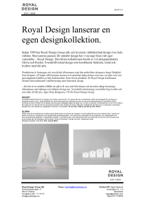 20131111 Royal Design lanserar en egen designkollektion. Sedan
