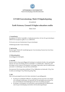 GV1420 Geovetenskap, Mark 15 högskolepoäng Earth Sciences