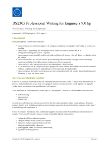 KTH | DS2305 Professional Writing for Engineers 9,0 hp