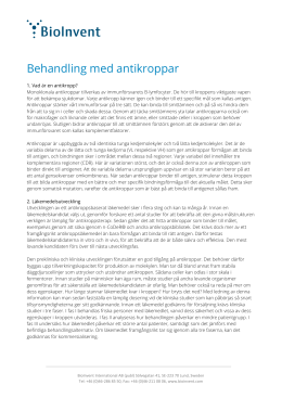 Behandling med antikroppar - BioInvent International AB