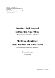 Standard Addition and Subtraction Algorithms Skriftliga algoritmer