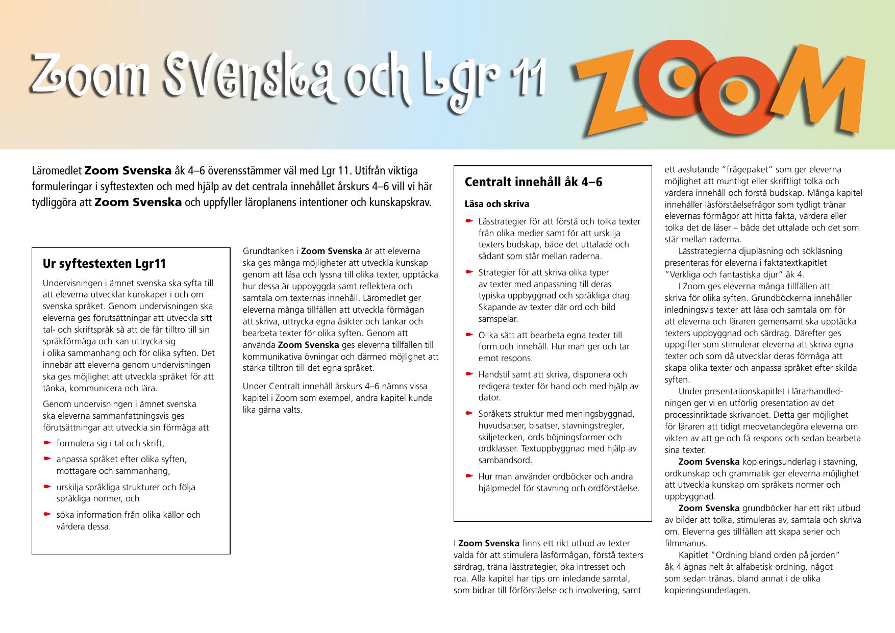 centralt innehåll svenska