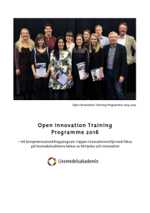 Open Innovation Training Programme 2016
