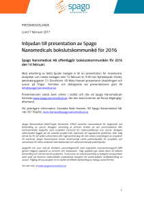 Pressrelease som pdf. - Spago Nanomedical AB